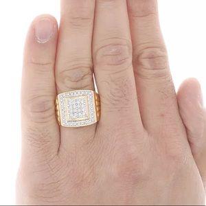 GENUINE DIAMOND MENS RING SIZE 10 NEW GOLD SILVER